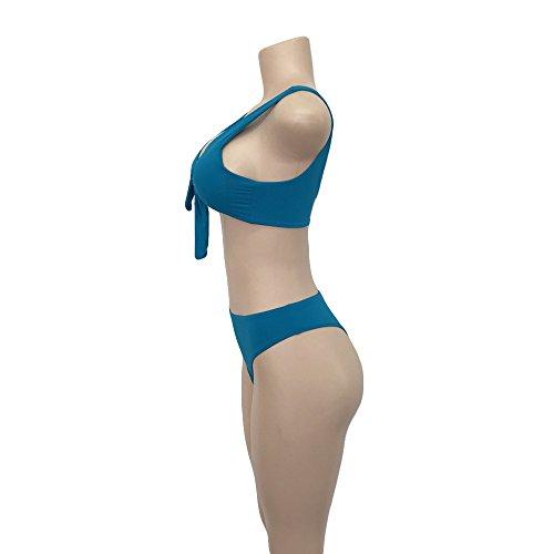Moda mujer bikini Swimwear Push-up Acolchado Atractivo Bra Traje De Baño Dos Piezas Bikini Sets partido para mujer playa Surf Swim Azul