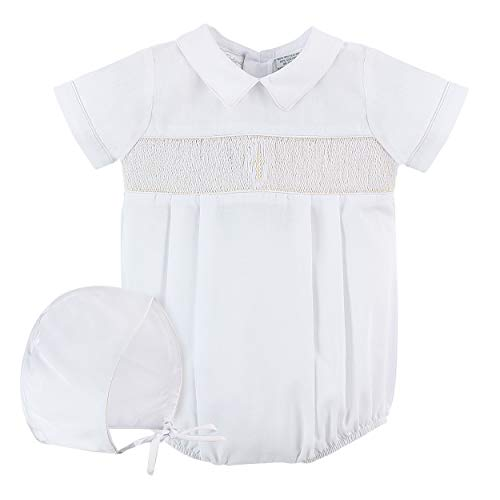Baby Boys Christening Smocked Cross Creeper White