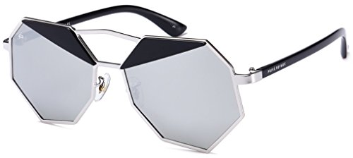 "PRIVE REVAUX ""The Activist"" Handcrafted Designer Geometric Polarized Sunglasses (Black/Silver)"
