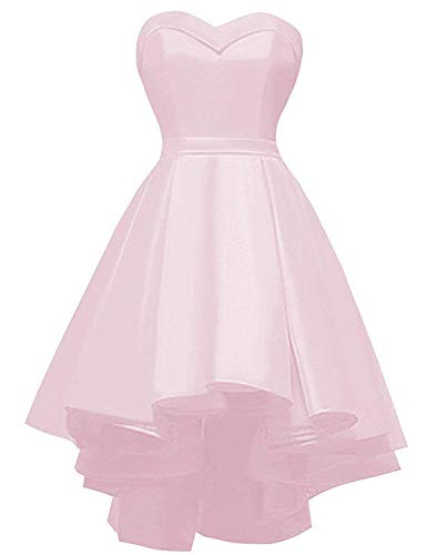 Yilisa Short Strapless Prom Homecoming Dress Sweetheart High-Low Satin Party Gown Size 2 -