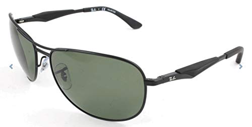 Ray-Ban RB3519 Aviator Sunglasses, Matte Black/Polarized Green, 59 mm