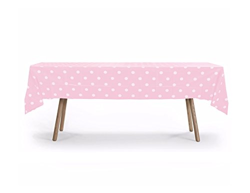 "5 PACK, 54"" x 108"" Pink Polka Dot Rectangular Plastic Table Cover, Plastic Table Cloth Reusable (PEVA) (Polka Dot Pink)"