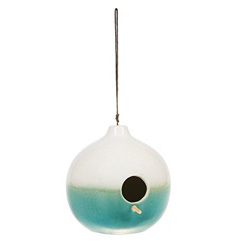 Ceramic Birdhouses - Round Blue White Ombre 6 Inch Stoneware Indoor Outdoor Functional Birdhouse