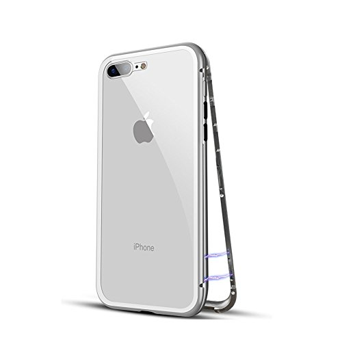 iPhone 8 plus Case, HONTECH Ultra Slim Magnetic Adsorption Aluminum Alloy Tempered Glass with Built-in Magnet Flip Cover for Apple iPhone 8plus 8+ (Clear White) by HONTECH