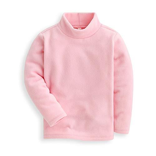 (Mud Kingdom Girls Shirts Fleece Turtleneck Base Tops Plain 5 Light Pink)