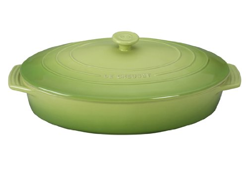 Le Creuset Stoneware Covered Oval Casserole, 3-3/4-Quart, Palm