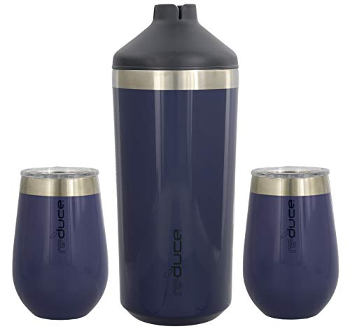reduce Stainless Steel Wine Cooler Set, Opaque Gloss Denim - Includes (1) 750mL Wine Cooler with (2) Vacuum Insulated 12oz Wine Tumblers – Tasteless & Odorless, BPA ()