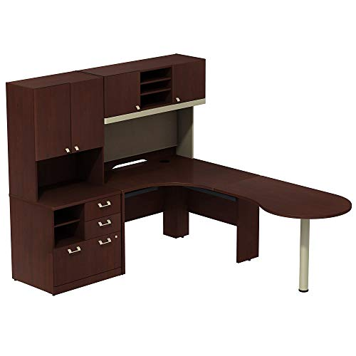 Bush Business Furniture Quantum Right Handed Peninsula L Shaped Desk with 48W Hutch and 30W Storage Cabinet with 30W Hutch - Harvest Cherry 76W X 90D X 67H ERGONOMICHOME BUSH BUSINESS FURNITURE (Bush Quantum Storage File)