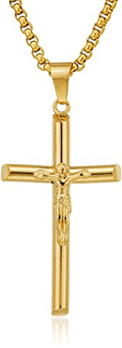 gold plated crucifix tube pendant necklace, 30