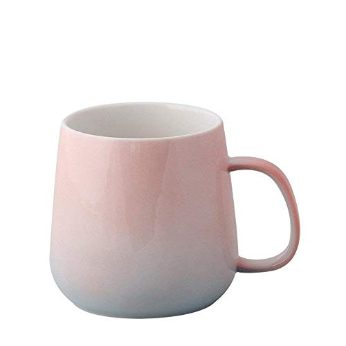 or Colorful Ceramic Cup Bone China Pretty Office Mug Cute Tumbler Reusable Coffee to go Pottery Travel Mug for Tea/Water/Milk Perfect for Kids&Adult Gifts12.5OZ (Pink) ()