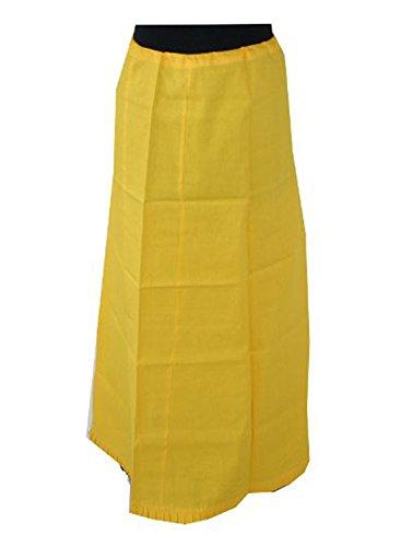 Yellow Sari (Saree Sari Underskirt Matching Cotton Petticoat In Free)
