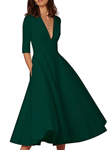 HUSKARY Women's Fashion New Ruched Waist Classy Deep-V Neck Party Tunic Swing Dress (Green, Large)