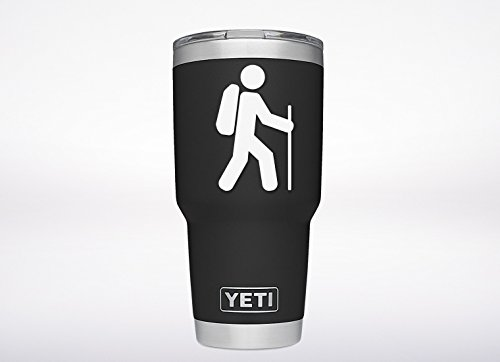 ViaVinyl Hiking/hiker (White) die cut Genuine decal for automobile window, Yeti and RTIC tumbler cup, Macbook and laptop, iPhone and Android cell phone, iPad and tablet and more!