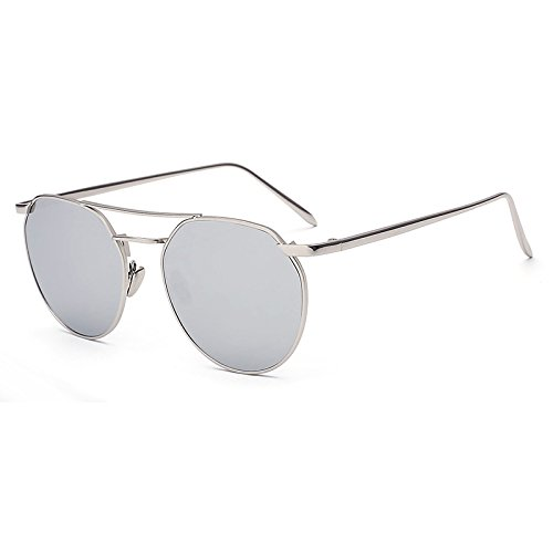 XMLC Unisexs' Aviator Full Metal Frame Mirror Classic Sunglasses Silver Frame Silver Lens
