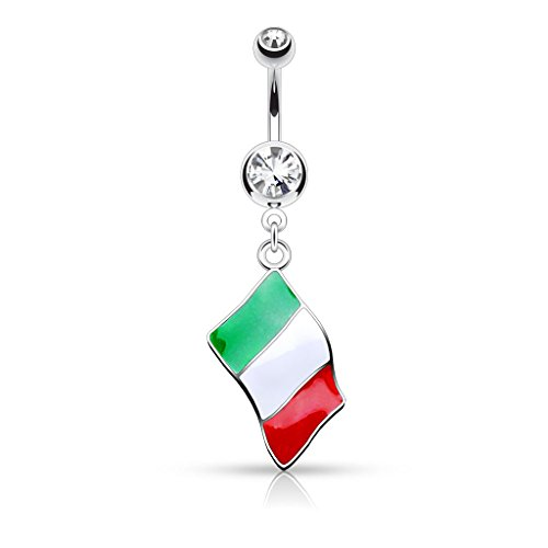 - Inspiration Dezigns 14GA National Flag Dangle Double Jeweled 316L Surgical Steel Belly Button Rings (Italian Flag)
