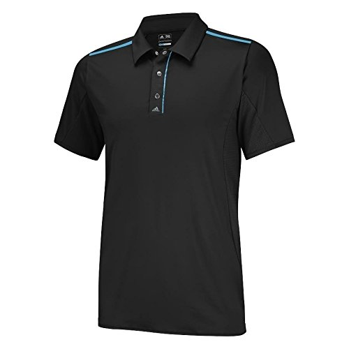 adidas Golf Men's PUREMOTION Tour climacool Flex Rib Texture Polo Shirt, Black/Bright Cyan, Large