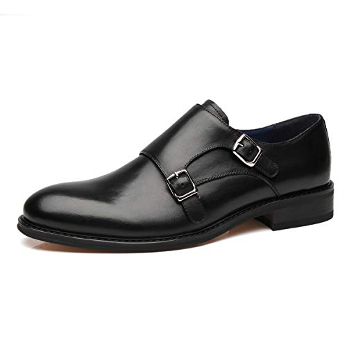 La Milano Mens Leather Double Monk Strap Oxford Slip-on Loafer Comfortable Formal Business Work Dress Shoes for Men