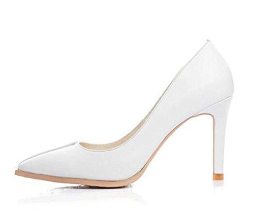 Spitz White Gericht Brautschuhe Frauen On Pumps High Kleid Slip Schuhe Stilettos Heel Hochzeit Z7wFwqd