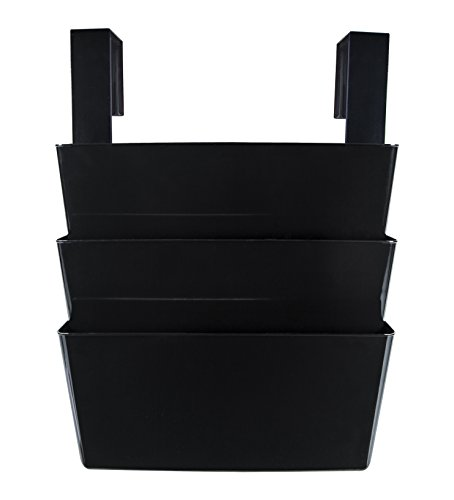 Storex Legal Sized Wall Files, 3 Pack Set with Partition Hangers, Black, Case of 6 Sets, STX70316B06C (STX70316B06C)