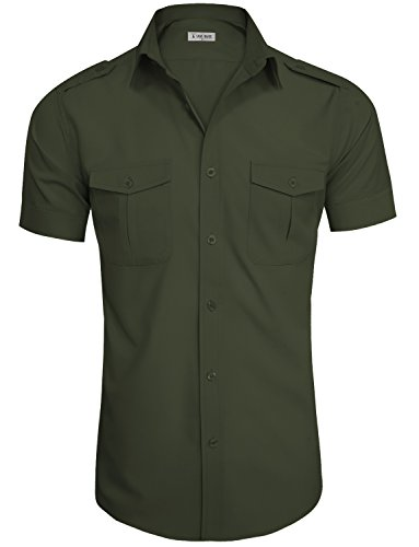 TAM WARE Mens Casual Plain Short Sleeve Button Down Shirts TWCMS19A-S20-ARMY-US XXL ()