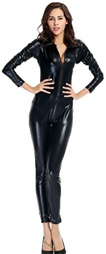 Lycra Catwoman Costume (Ensnovo Womens Shiny Metallic Lycra Spandex Shirt Collar Zipper Catsuits Black, XL)