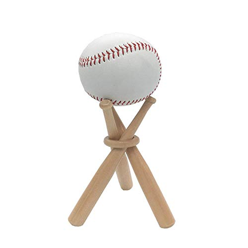 2 Pack Baseball Stand Holder Wooden Base Ball Display Stand with Baseball Glove Bats Keychain Key Ring