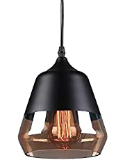 CICIKEY Black Pendant Light, Industrial Pendant Lamp Modern Vintage Amber Glass Hanging Lighting Fixture, E26 Base Edison Rustic Indoor Lights for Kitchen Dining Room Hallway Farmhouse