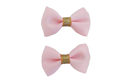 Blossom Design Mini Light Pink Gold Hair Clips No Slip Hair Clips for Infants Babies Toddlers Girls Kids Teens 2.5 Inch Set of ()