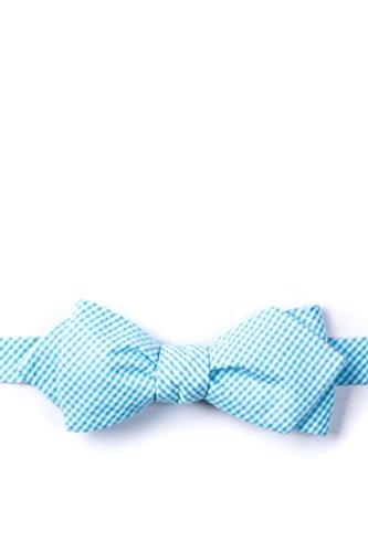 Sky Blue Chamberlain Check Sky Blue Seersucker Diamond Tip Bow Tie