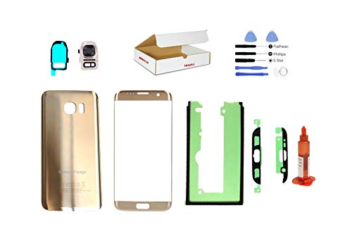 (md0410) Galaxy S7 Edge Gold front outer glass lens + back cover with camera lens flash cover G935 replacement + adhesive + opening tool + LOCA glue (LCD screen & touch digitizer not included)