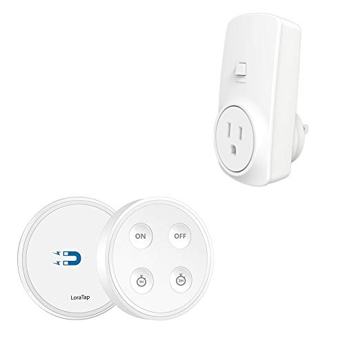 (LoraTap Remote Control Outlet Timer with Remote, 656ft Range 1H/2H Countdown Timer Wireless Light Switch for Lighting and Household Appliances, No Hub Required, 10A/1100W, White, 5 Years Warranty)