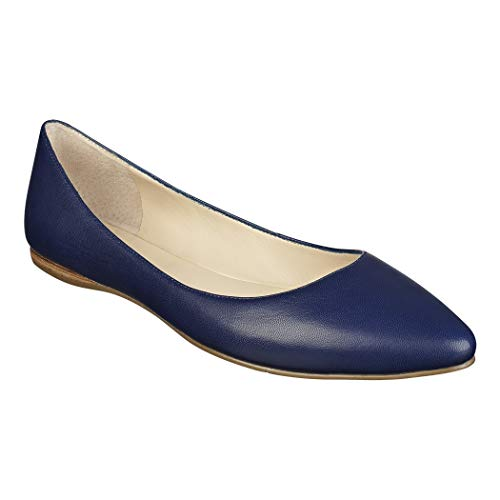 Bella Marie Angie-53 Women's Classic Pointy Toe Ballet Slip On Flats Shoes (11, Navy Blue Vegan Leather)