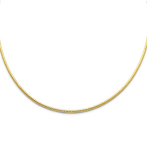 Ioka Jewelry - 14K Yellow Gold 2mm Sparkle Omega Necklace - (Yellow Gold Sparkle)