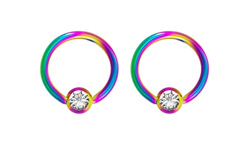 Pair 14g 8mm Rainbow Surgical Steel Clear CZ Gemmed Captive Bead Body Piercing Hoops, 3mm Balls