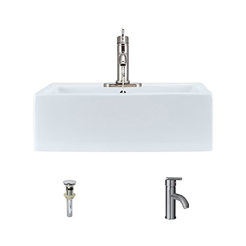 V2502-White Porcelain Vessel Sink Chrome Ensemble with 753 Vessel Faucet Bundle – 3 Items Sink, Faucet, and Pop Up Drain