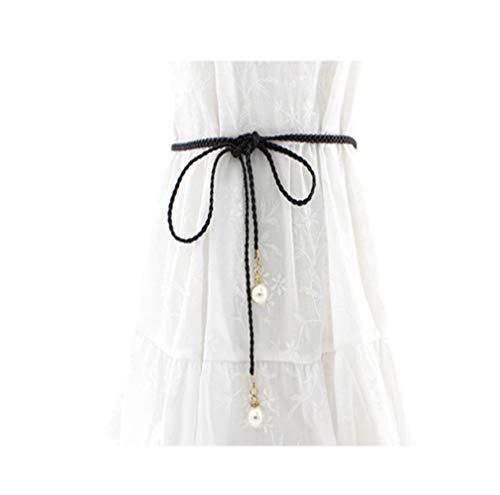 Phoebe Dress In Black - SUNFANI Women Trendy Boho Skinny Waistband for Dress, Knotted Waist Chain Dress Woven Waist Rope (Black)