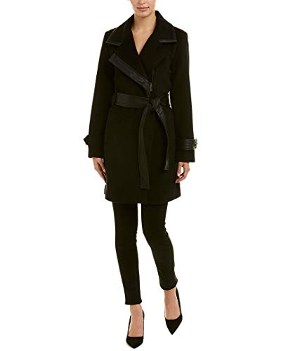 - Badgley Mischka Women's Wool Mid Length Wrap Coat with Faux Leather Trim, Black, Extra Small