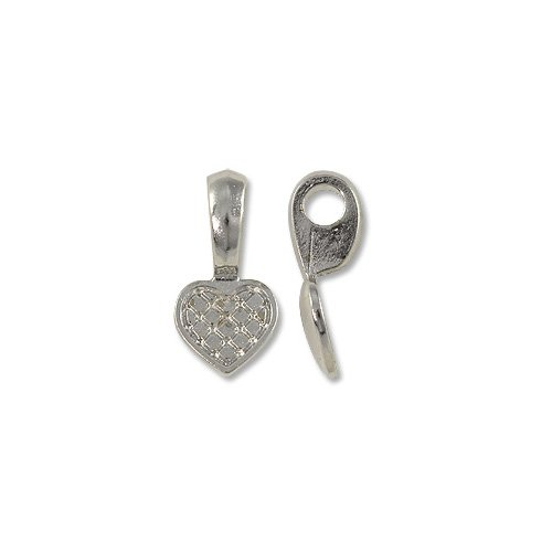 Bail - Heart Glue-On 10x20mm Pewter Bright Rhodium Plated (Plated Pewter Heart)