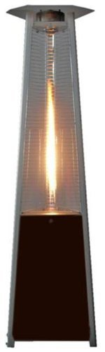 Golden Flame True Commercial (Natural Gas) Hammered Mocha Bronze 3-Sided Pyramid Style Quartz Tube Patio Heater with Wheels ()
