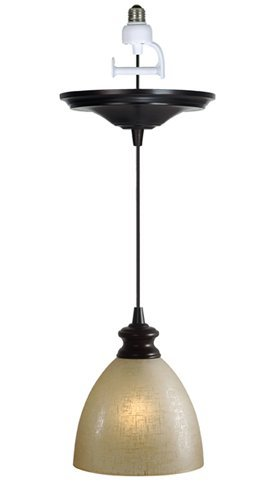- Worth Home Products Instant Screw In Pendant Light with Linen Glass Shade