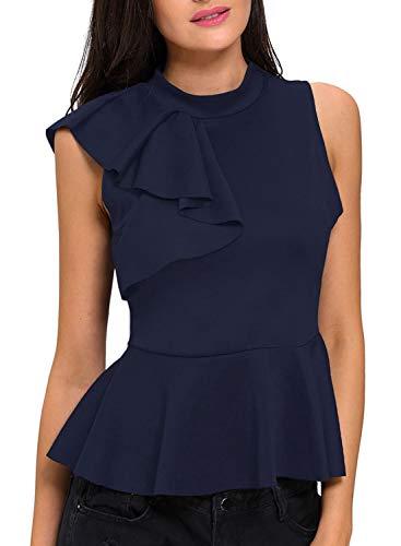 (Shawhuwa Womens Sexy Asymmetric Ruffle Side Peplum Top Clubwear L Blue)