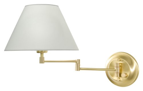 Holtkotter White Sconce - Holtkoetter 8164 BB SWRG Incandescent Shaded Swing-Arm Wall Sconce, Brushed Brass with Satin White Regular Shade