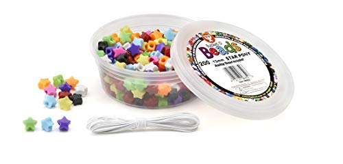 Hygloss Products Bucket O'Beads with Thread - 200 Piece Star Pony, 13 mm (6852)]()