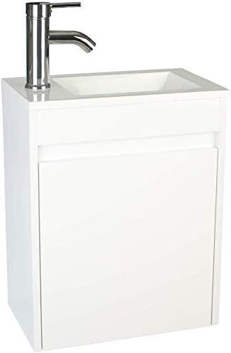 White Bathroom Vanity with Ceramic Vessel Sink Combo,Wall Mount Bathroom Vanity, 16 L 9.8 W20.3 H, MDF Wood