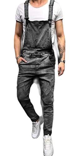 [해외]Gocgt Mens Bib Overalls Ripped Jeans Slim JumpsuitPockets / Gocgt Mens Bib Overalls Ripped Jeans Slim JumpsuitPockets 2 XL