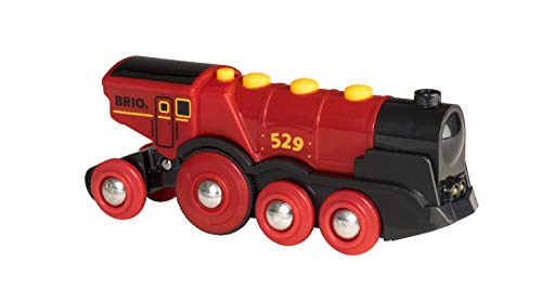 Brio World 33592 Mighty Red Action Locomotive | Battery Operated Toy Train with Light and Sound Effects for Kids Age 3 and Up ()