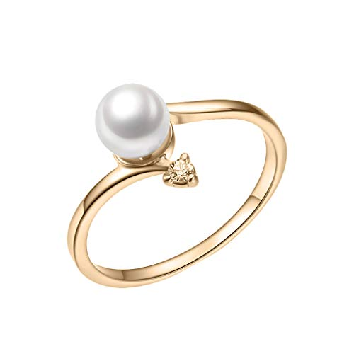(Londony◈ Freshwater Cultured Button Pearl Diamond Band Ring Fine Jewelry for Women Gift Set Wedding Anniversary Jewelry Gold)