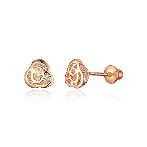 (Rose Gold Tone Rose Cubic Zirconia Screwback Baby Girls Earrings with Sterling Silver Post)