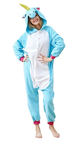 (OLadydress Unisex Unicorn Costumes Pyjamas, Adult Women Men Animal Cosplay Onesie Blue)