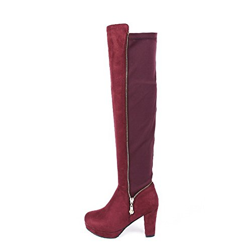 Allhqfashion Women's Solid Imitated?Suede High-Heels Zipper Round Closed Toe Boots Claret dzASILJU